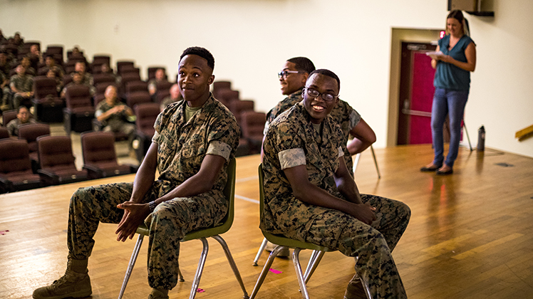 U.S. Marines attend suicide awareness and prevention training