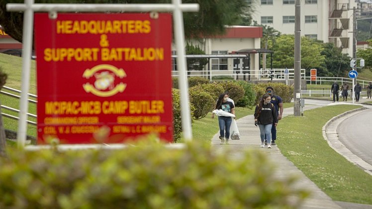 Marines with Headquarters and Support Battalion, Marine Corps Installations Pacific, hosted the Earth Day Camp Foster Clean up